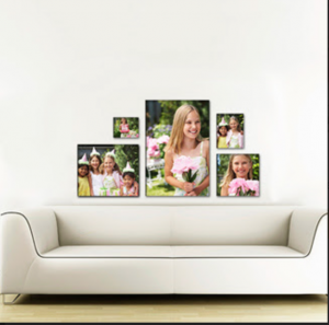 Take advantage of Walmart's discounted canvases, perfect or engagement or wedding photos. Another great use; print pictures of the bride and grooms parents wedding photos to display at the wedding.