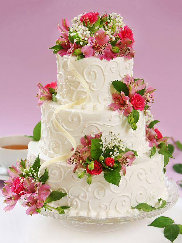Flower-topped cake