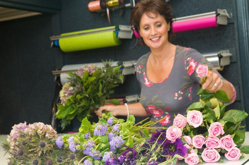 Florist prepares bouquet
