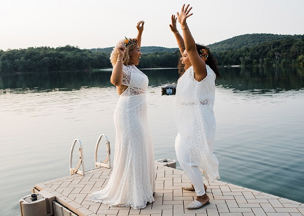 Brides celebrating their wedding day