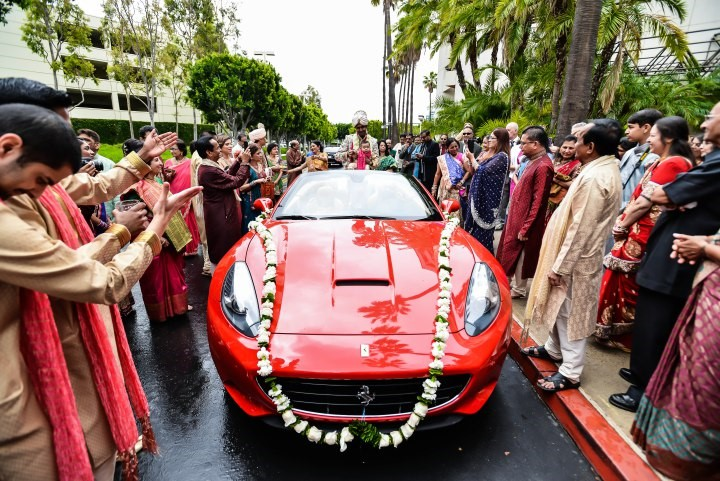 Groom arriving in exotic car