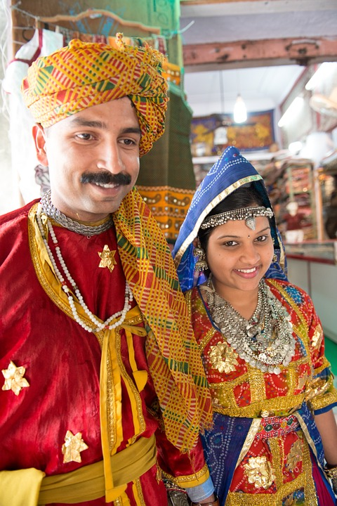 The happy couple after an Indian wedding