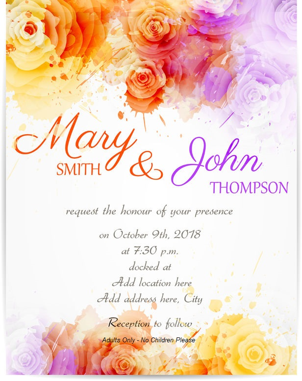 Invitation wording for Adults Only