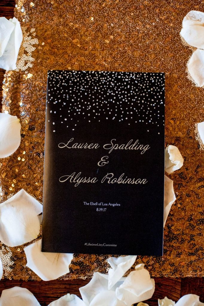 Wedding program for Alyssa & Lauren