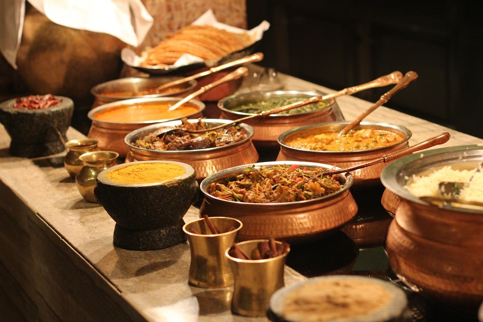 Serving station for Indian food
