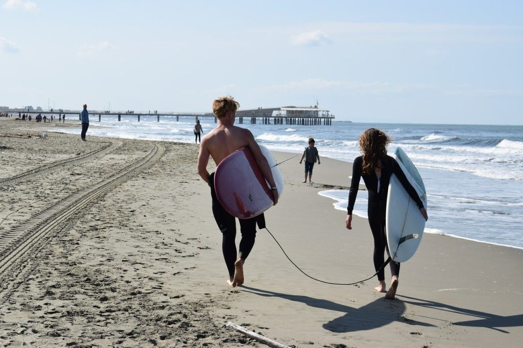 Surfing honeymooners