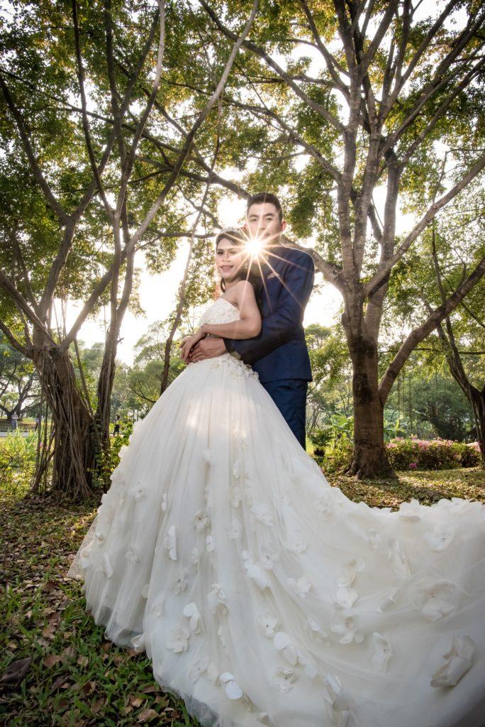 Wedding dress with rose petal detail