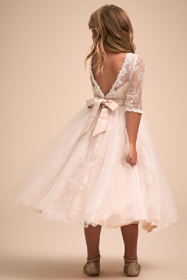 Blush Illusion Flower Girl Dress