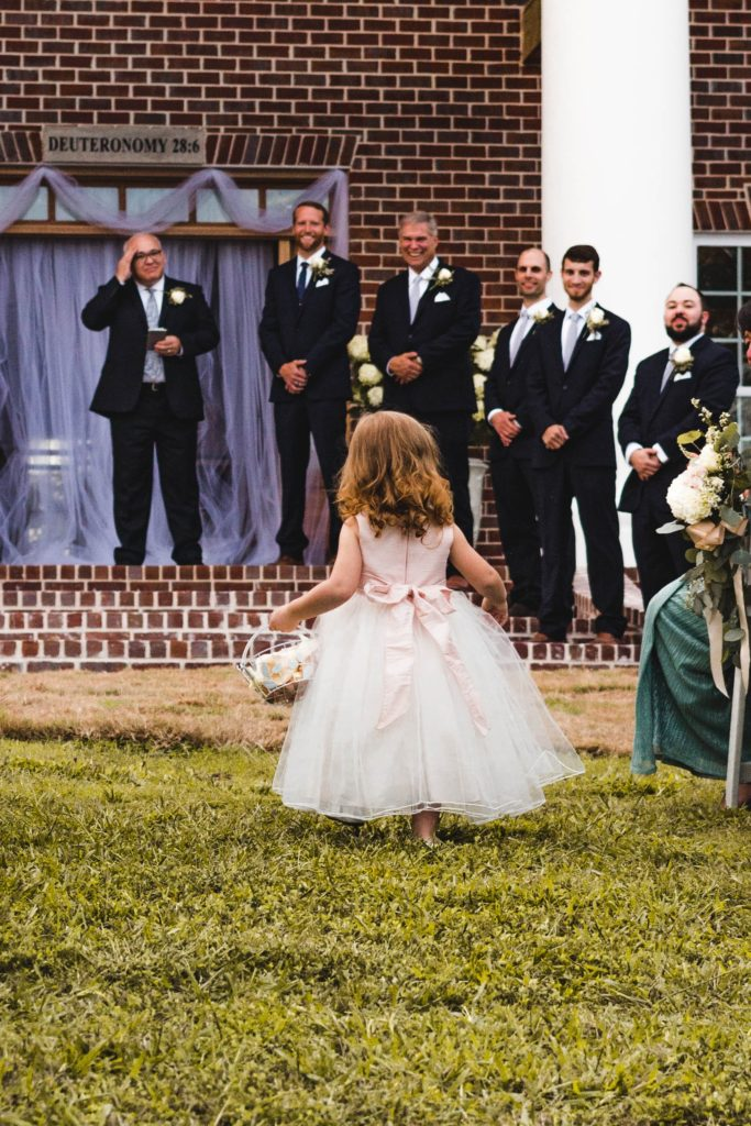 Dressing the flower girl