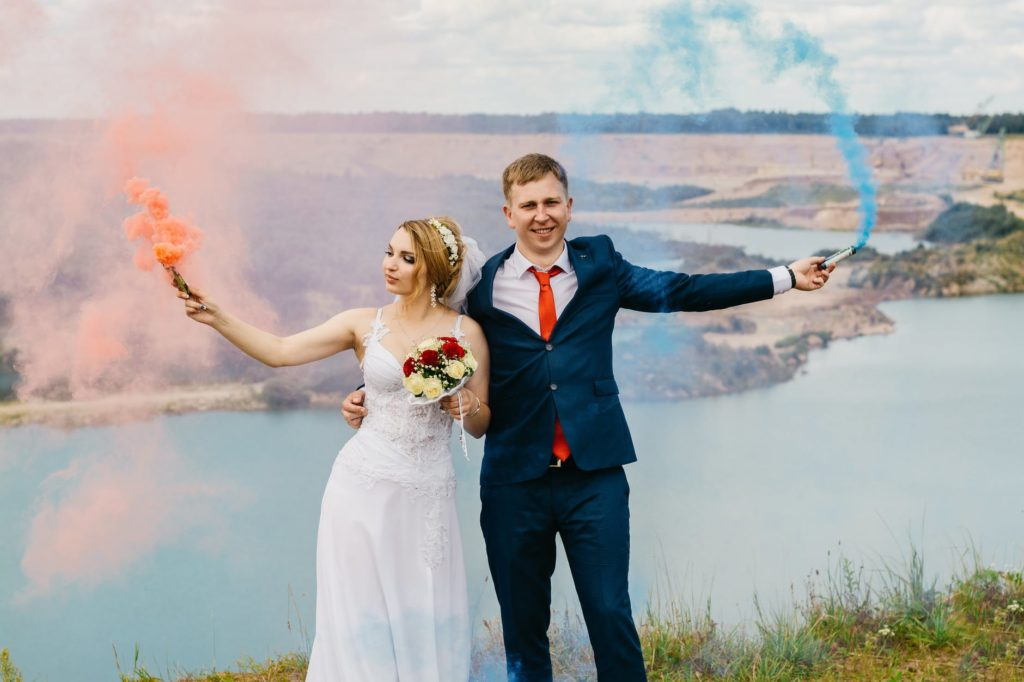 Newly married couple on honeymoon