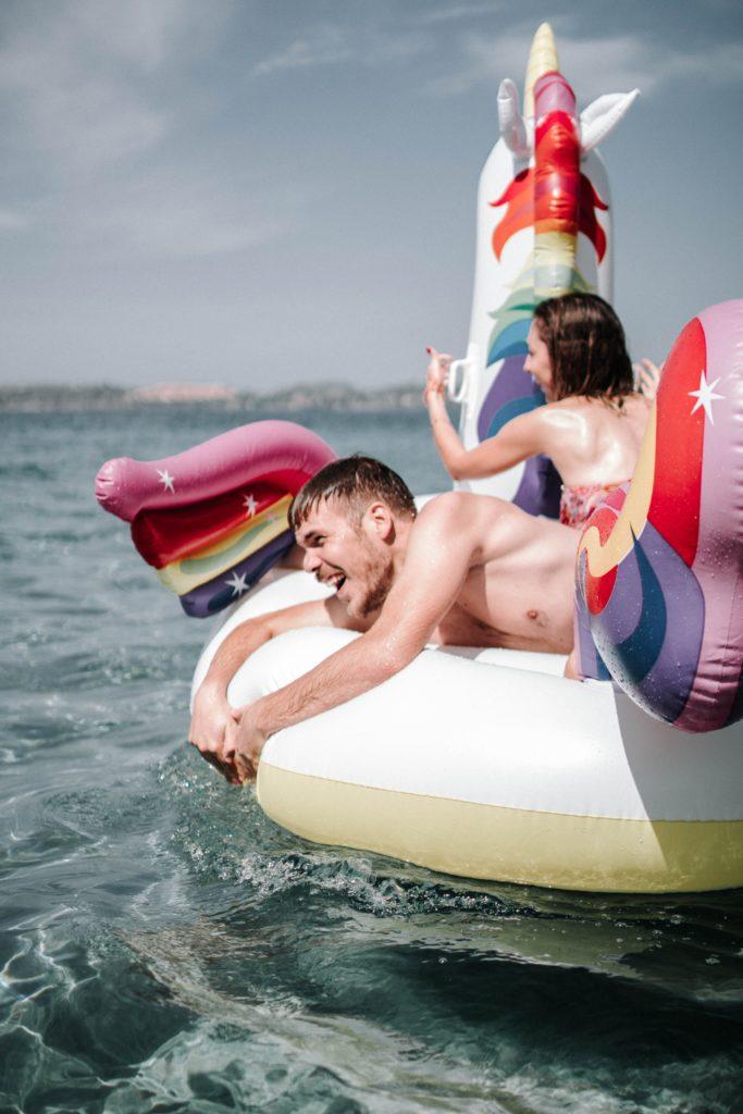 Couple on raft