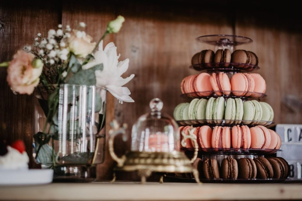 Macarons on tray for a wedding
