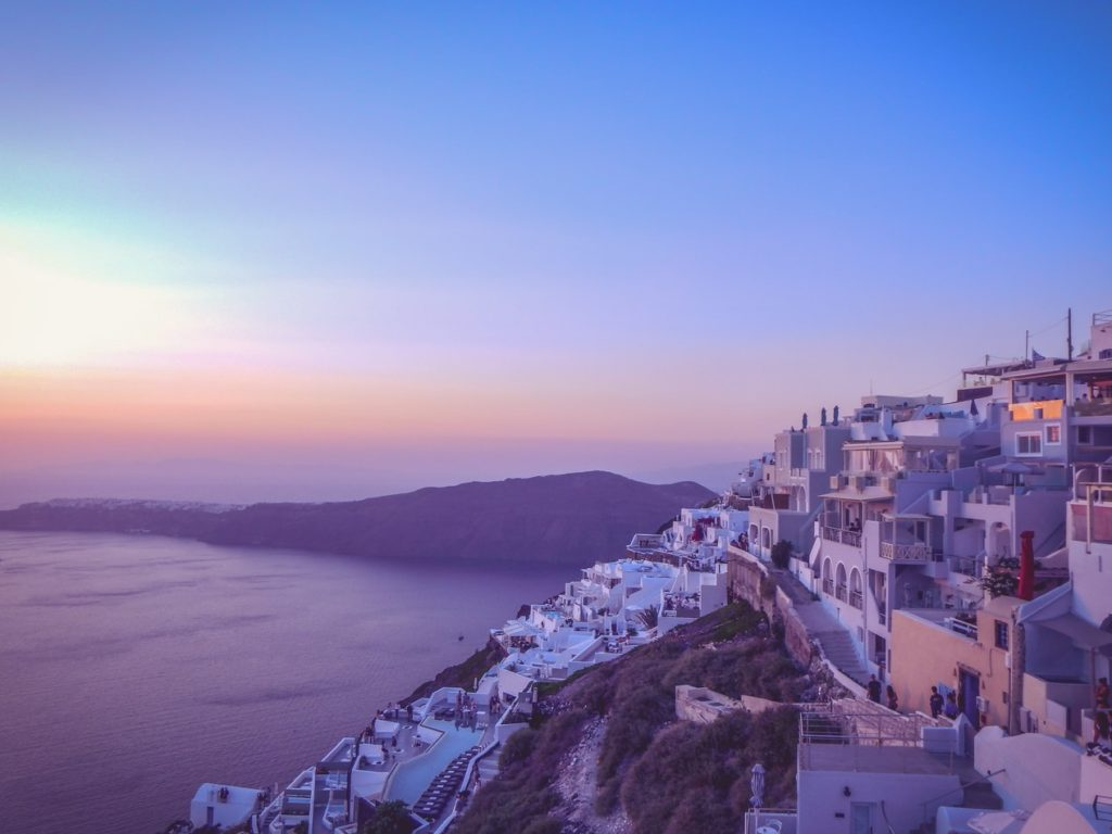Sunset overllooking the Imerovigli village in Santorini