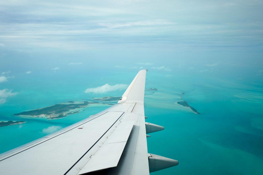 Flying over Exuma, The Bahamas honeymoon