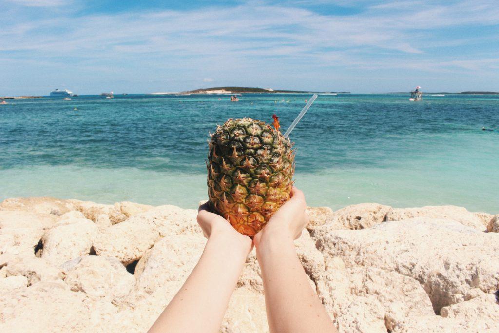 Pineapple Drink, Coco Cay, The Bahamas honeymoon