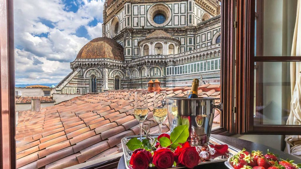 View from Hotel Duomo Firenze on your Italy honeymoon
