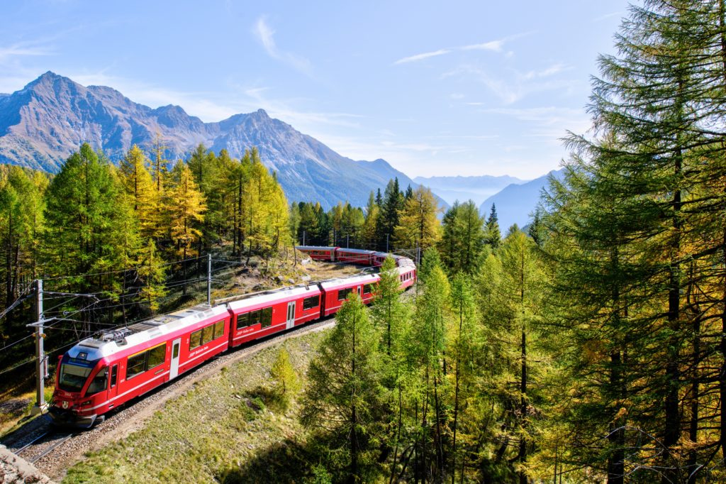 Train in Berninabahn, Switzerland